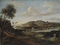 a capriccio of a coastal landscape with a castle, a palladian villa on a hill, a mansion in parkland by anglo-dutch school (18)