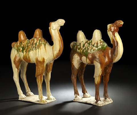 camels (pair) by anonymous-chinese (tang dynasty)