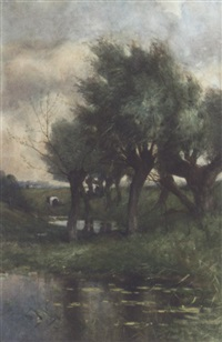 cows grazing by willow trees by maria philippina bilders-van bosse