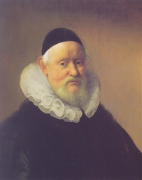 portrait of a gentleman wearing a black jacket with a fur-trimmed collar, a white ruff, and a black skull cap by paulus lesire