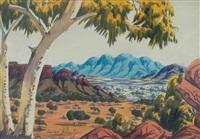 central australia with gums by oscar namatjira