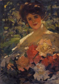 girl with a bouquet of flowers by florence carlyle