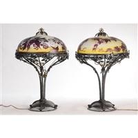 paire de lampes à décor de vignes vierges (set of 2) by émile gallé