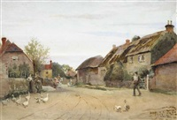 english village scene by joseph poole addey