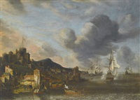 a dutch man o war firing its guns by a fortified castle town, hills rising to the left by anthonie beerstraaten