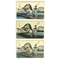 fifty-three stations of the tōkaidō hiratsuka (3 works) by ando hiroshige