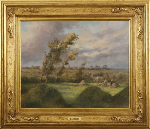 summer landscape with harvesters in the fields by eugène labitte