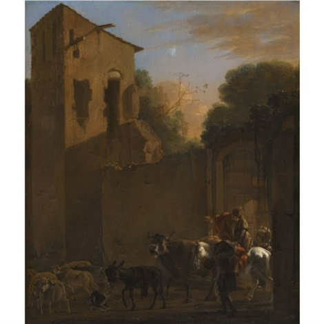travellers leaving a town by jan asselijn