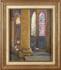 interior of chartes cathedral by pierre gaston rigaud