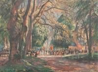 la procession de notre-dame de grâce, honfleur by raymond (louis) le court