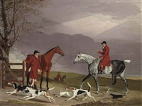 thomas oldaker on a gray hunter, with other huntsmen, hounds and terriers, in a landscape by benjamin marshall