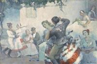 ungarsk landsbyscene med dansende kvinder og mænd by andor (andreas) pilch