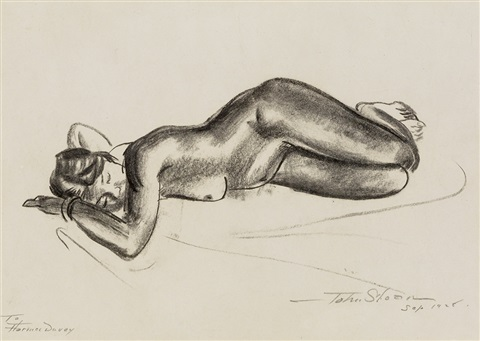 reclining female nude by john french sloan