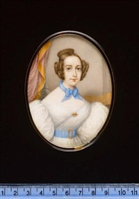 a lady wearing white dress with voluminous sleeves, blue waistband with gold buckle, gold brooch and blue ribbon necklace tied in a bow by jean-jacques belnos