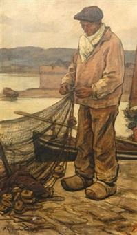 pêcheur au filet sur le quai by achille granchi-taylor
