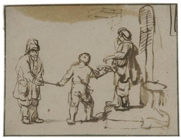 ein knabe leitet einen blinden bettler zu einem almosengeber by samuel van hoogstraten