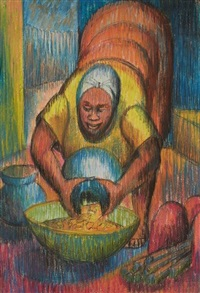 pouring food into a bowl by kofi antubam