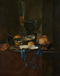 nature-morte au ruban bleu et au citron by antoine vollon