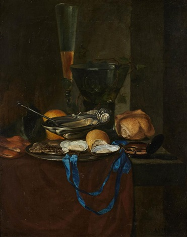 nature morte au ruban bleu et au citron by antoine vollon