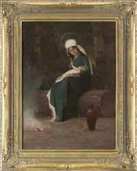 virgin and child seated before a fire by endre komaromi-kacz