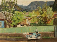 village motorcycle with mountains beyond by aleksey vasiliev