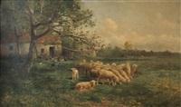 moutons près de la ferme by albert tibule furcy de lavault