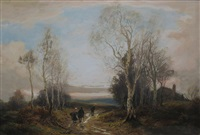country views with figures and dog (pair) by william manners