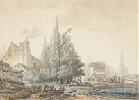 un paysage avec une ferme et une basse-cour près d'une mare, un tas de bois dans le fond by jean-baptiste antoine tierce