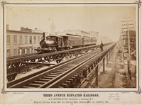 group of 3 photographs of the new york elevated railroad, including 42nd street at 9th avenue and 9th street at 3rd avenue (3 works) by john reid