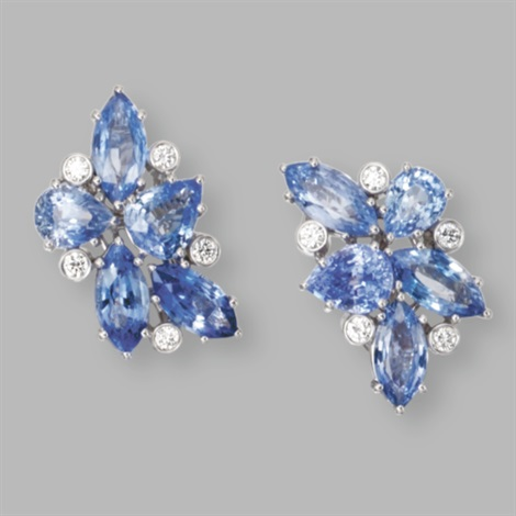a pair of earclips of cluster design by aletto brothers co
