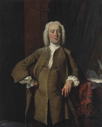 portrait of a gentleman traditionally identified as philips zweerts (1704-1774), three-quarter-length, in a green coat and white stocking, his left elbow resting on a draped table with letters, standing in an interior by cornelis troost