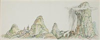 ming lo and his wife lived in a house at the bottom of a large mountain ( illustration from ming lo moves the mountain) by arnold lobel