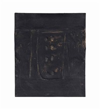 negre amb dues clivelles blanques (black with perforated forms) by antoni tàpies