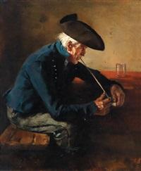 ein mann seine tonpfeife anzündend by hermann lindenschmit