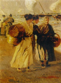 fisherwomen on the beach by salvador martínez cubells
