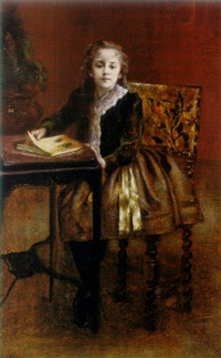 portrait of fillette lisant by paul robert