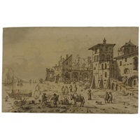 italianate buildings by a river by josua de grave