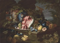 lemons, pears, a fig, a watermelon, plums, and grapes in a metal vessel on a stone table by maximilian pfeiler