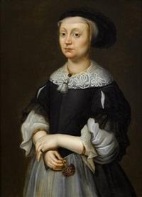 portrait of a lady holding carnation, three-quarter length by dutch school-zeeland (17)