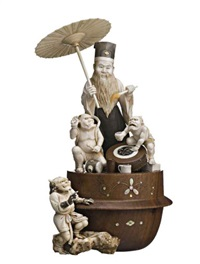 a group of a bearded priest holding a parasol and fly whisk, with two oni, a third oni on rocks at the side by muneaki