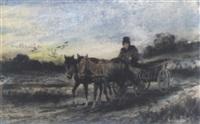 pferdewagen an einem nassen tag by julius holzmueller