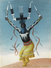 ceremonial kachina dancer by miguel covarrubias