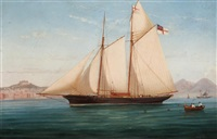 "lord suffield's yacht the ""flower of yarrow"" in the bay of naples by de simone"