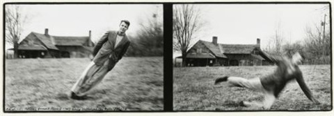 p.b.(peter beard) at john palmer's vermont (c. 1750) house during hallelujah the hills (diptych) by peter beard