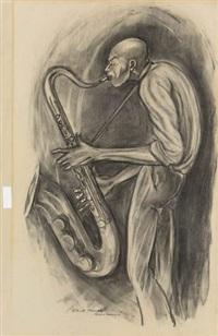 sketch 12 (sax player) (study) by ernie barnes