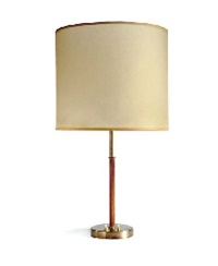 a leather and metal table lamp, 1950s by jacques adnet
