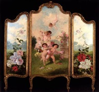 cavorting putti in a floral landscape by josef brunner