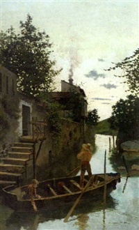 atardecer en el canal (evening on the canal) by joan llimona y bruguera