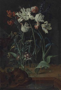 parrot tulips, carnations, turk-cap lilies and other flowers with a snail, a frog and insects by a fountain with a sculpted dolphin by coenraet (conrad) roepel