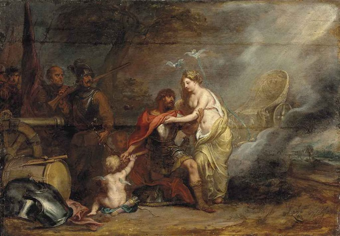 venus presenting aeneas with armour from vulcans forge by simon de vos